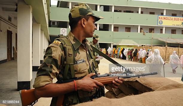 Security forces were deployed to ensure peaceful polling at Jujapur during second phase of West Bengal assembly elections on April 17 2016 in Malda...