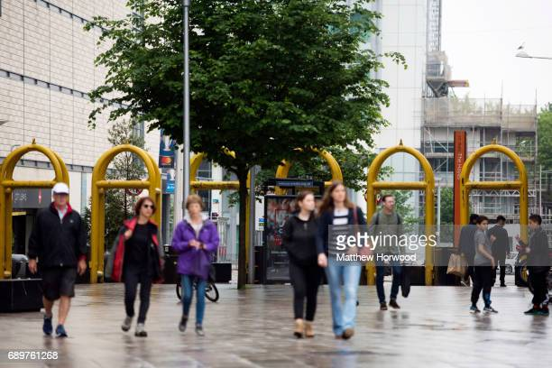 Security gates seen on the Hayes in Cardiff city centre on May 29 2017 in Cardiff Wales Preparations are underway for the UEFA Champions League final...