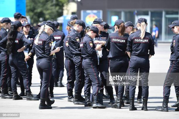 Security Girls during the FIFA World Cup Group C match between Denmark and France at Luzhniki Stadium on June 26 2018 in Moscow Russia