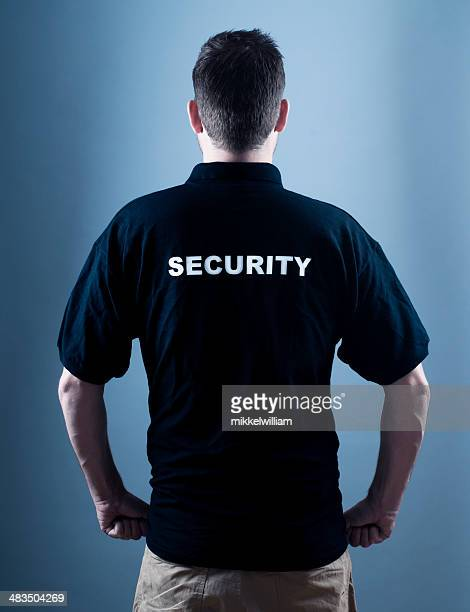 Security guard alone in the dark