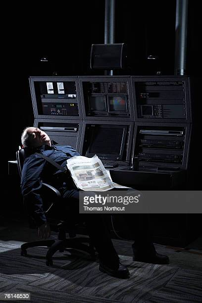 Security guard asleep in office