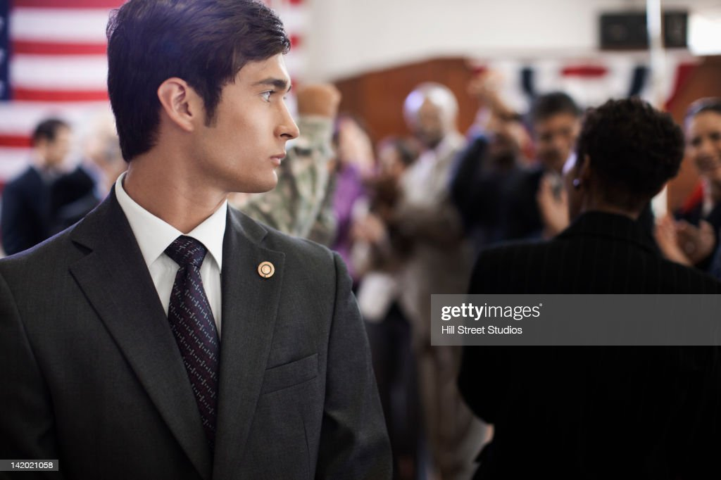 Security guard at political gathering : Stock Photo