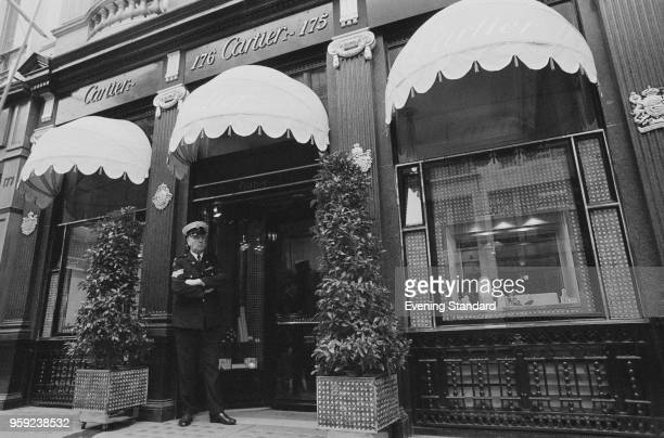 A security guard standing outside the Cartier shop on Old Bond Street London UK 29th June 1978