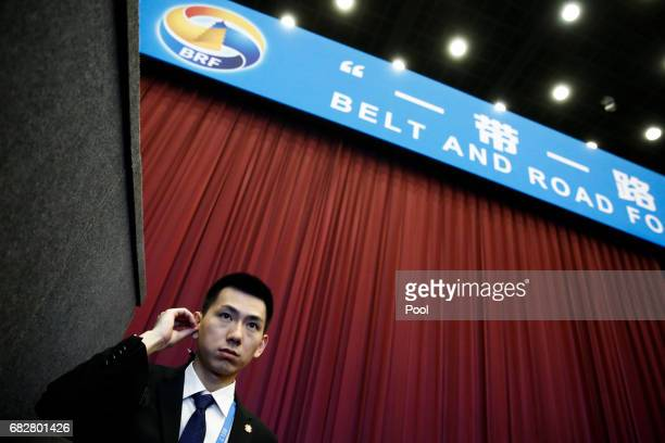 A security guard stands at the entrance to the opening ceremony of the Belt and Road Forum on May 14 2017 in Beijing China The Belt and Road Forum...