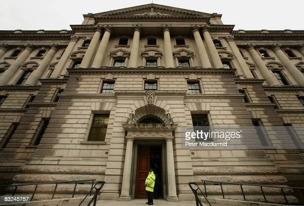A security guard stands outside the Treasury on October 13 2008 in London The UK Government has announced a £37 billion bail out of three retail banks