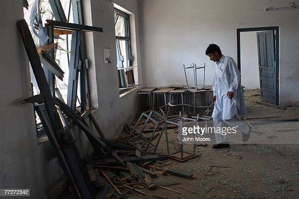 A security guard walks through a destroyed girls school October 11 2007 in Kabal in the Swat Valley of Pakistan Taliban militants set off explosives...
