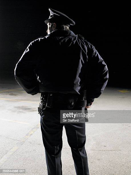 Security guard with hand on gun, rear view