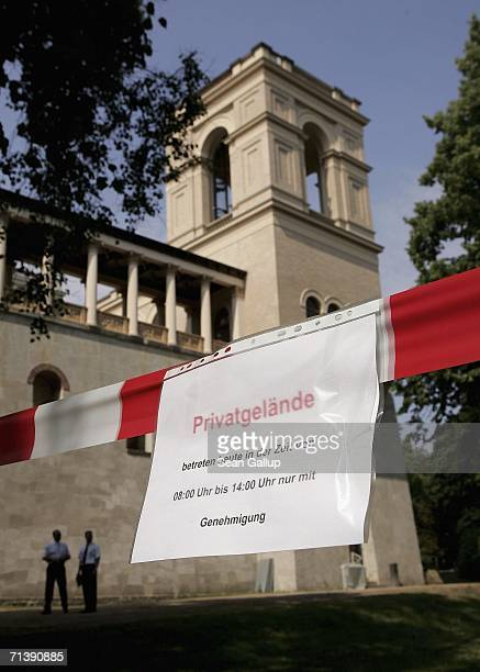 Security guards and a sgin sayihg No Trespassing at the wedding of German TV host Guenther Jauch on July 7 2006 in Potsdam Germany