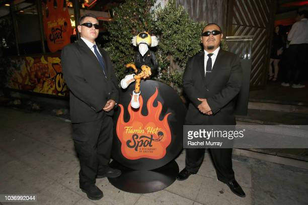 Security guards are seen at the front door at The Flamin Hot Spot Cheetos new limitedtime restaurant with a menu inspired by chef Roy Choi at Madera...