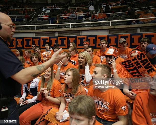 Security guards at Assembly Hall were told to confiscate the Save the Chief signage before the start of action at Assembly Hall, Champaign, Il where...