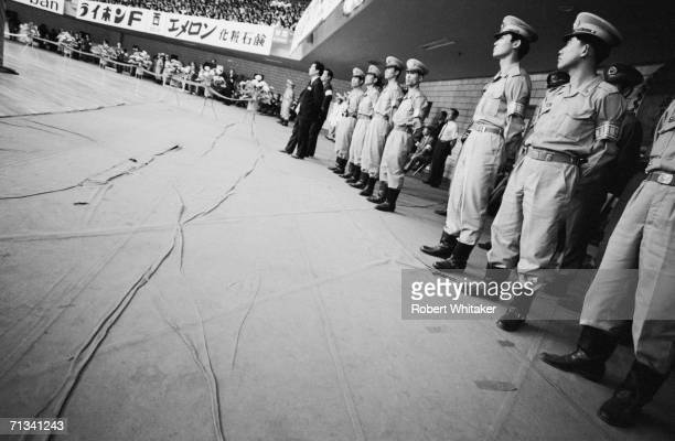 Security guards at the Nippon Budokan Hall Tokyo during The Beatles tour of Asia 1966