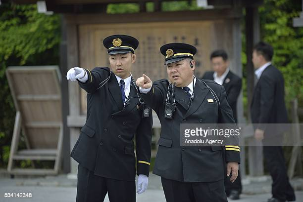 Security guards of the Ise Shrine prepare to welcome Prime Minister Shinzo Abe before his visit to the Ise Jingu on May 25, 2016 in Ise, Mie...