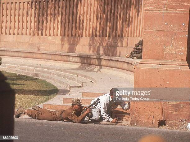 Security Guards on the arms position with Gun at the Parliament attack by terrorist in New Delhi India