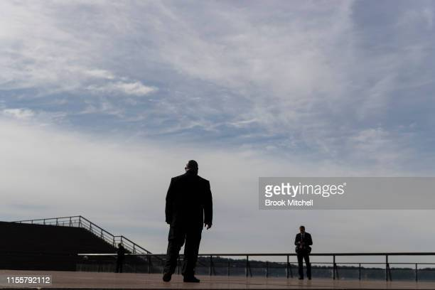 Security guards patrol at the Bob Hawke memorial at the Sydney Opera House on June 14 2019 in Sydney Australia Robert James Lee Hawke AC also known...