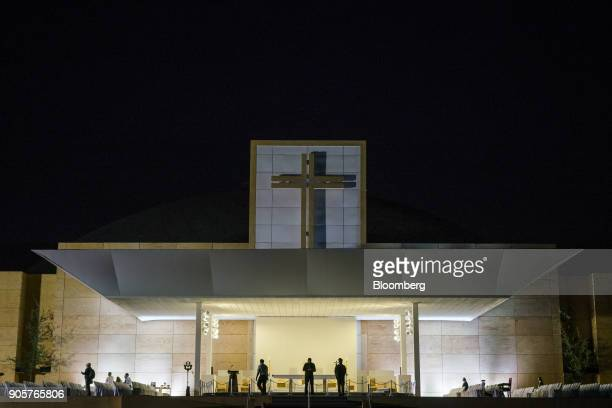 Security guards stand at the alter before Pope Francis not pictured begins mass at O'Higgins Park in Santiago Chile on Tuesday Jan 16 2018 400000...