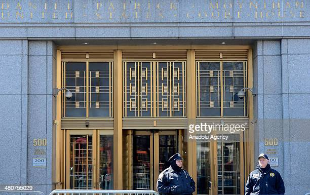 Security guards stand outside Daniel Patrick Moynihan federal courthouse during the trial of Osama Bin Laden's soninlaw Sulaiman Abu Ghaith on March...
