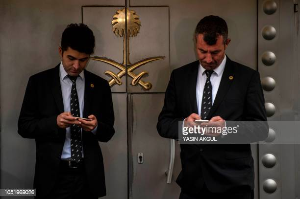 Security guards stand outside the entrance of the Saudi Arabia's consulate in Istanbul on October 12 2018 A Saudi delegation has arrived in Turkey...
