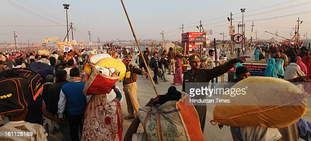 Security has been briefed up at Kumbh mela area on February 9, 2013 in Allahabad, India. The mega religious fair is held once in 12 years in...