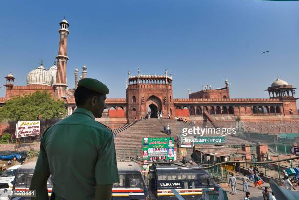Security heightened around Jama Masjid on the day of the Supreme Court verdict in the Ram Janmabhoomi Babri Masjid case on November 8 2019 in New...