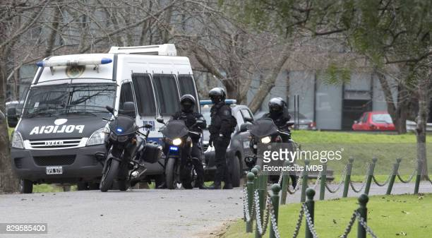 Security in front of Parque Memorial cemetery during Jorge Zorreguieta's funeral on August 10, 2017 in Buenos Aires, Argentina.