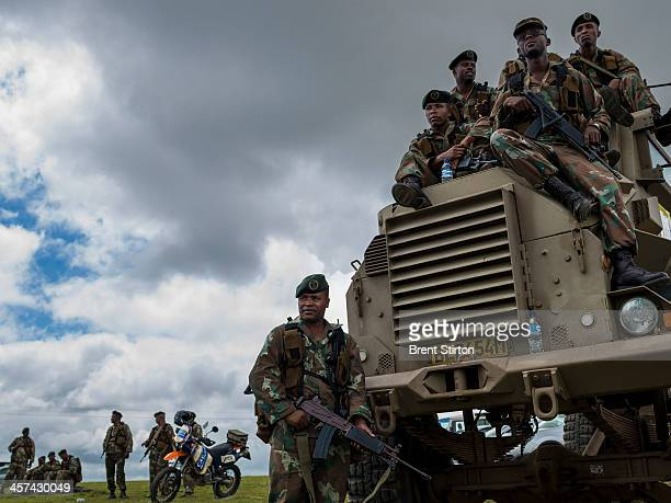 Security is tight for the Nelson Mandela funeral with the Army and Police on full display Qunu South Africa 14 December 2014 An icon of democracy...