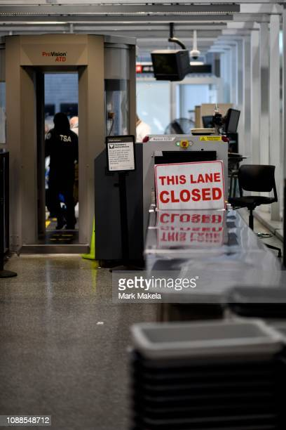 A security line is closed after Philadelphia Airport TSA and airport workers held a protest rally outside the Philadelphia International Airport on...