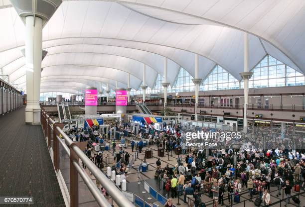 TSA security lines in the main terminal are crowded with spring break travelers on April 12 in Denver Colorado Located 25 miles from downtown Denver...