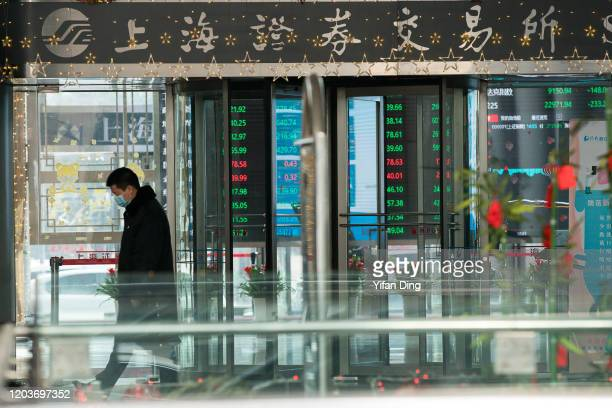 A security man wears a mask when standing in front of the front gate of Shanghai Stock Exchange Building on February 03 2020 in Shanghai China
