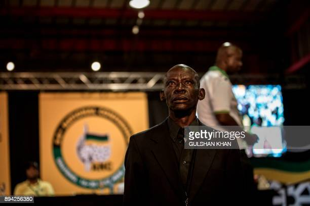 A security marshall stand guards the stage during a plenary meeting at the NASREC Expo Centre during the 54th ANC national congress on December 17...