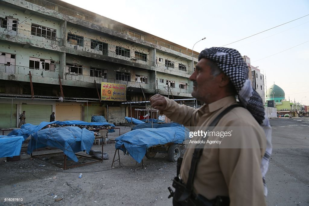 Security measures are being taken around the Jihad Hotel which was cleared of Daesh after being kept by terrorists for two days, as Iraqi security forces patrol on Kirkuk streets where efforts to clear Daesh continue in Kirkuk, Iraq on October 22, 2016. Thirteen people were killed on Friday by a Daesh suicide attack on a power plant in the northern Iraqi city of Kirkuk. A curfew was imposed in Kirkuk in the wake of other attacks, security sources said.