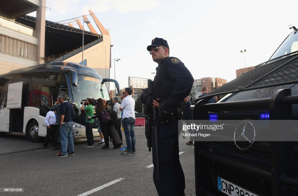 Security measures are seen alongside the Leicester City team coach during a Leicester City training session and press conference on the eve of their UEFA Champions League quarter final match against Atletico Madrid at Vicente Calderon Stadium on April 11, 2017 in Madrid, Spain.