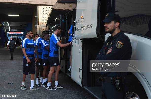 Security measures are seen as players board the Leicester City team coach during a Leicester City training session and press conference on the eve of...