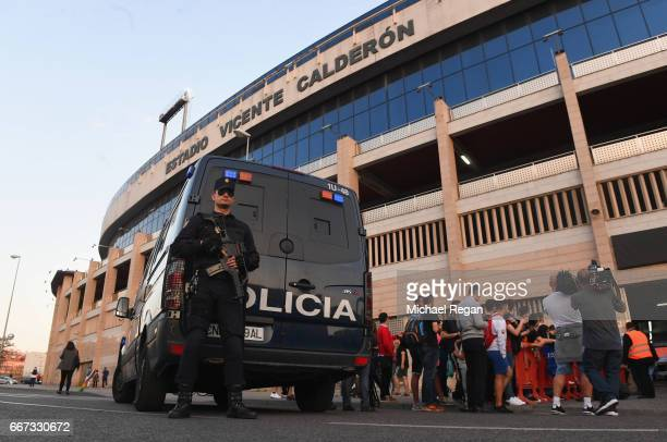 Security measures are seen outside the stadium during a Leicester City training session and press conference on the eve of their UEFA Champions...