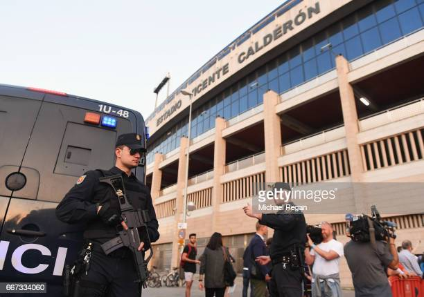 Security measures are seen outside the stadium during a Leicester City training session and press conference on the eve of their UEFA Championns...