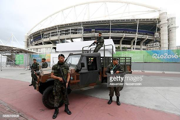 Security measures are seen outside the stadium on Day 7 of the Rio 2016 Olympic Games at the Olympic Stadium on August 12 2016 in Rio de Janeiro...