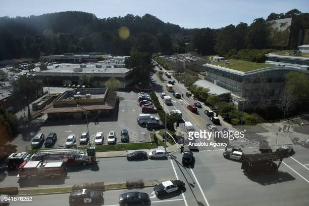 Security measures are taken after police officers responded to an active shooter at YouTube's California headquarters in San Bruno California United...