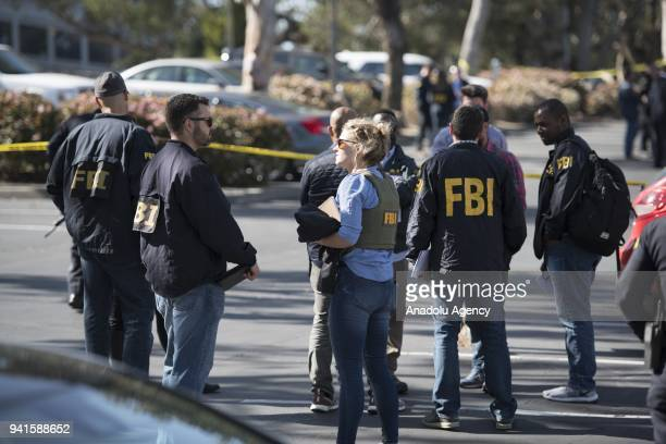 Security measures are taken after security forces responded to an active shooter at YouTube's California headquarters in San Bruno California United...