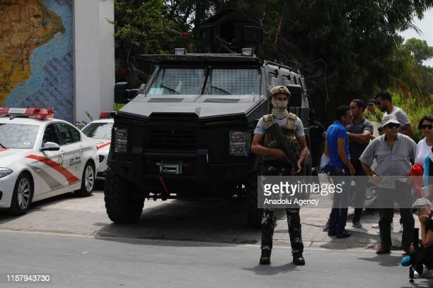 Security measures are taken around the Carthage Presidential Palace during the funeral of late Tunisian President Beji Caid Essebsi in Tunis, Tunisia...