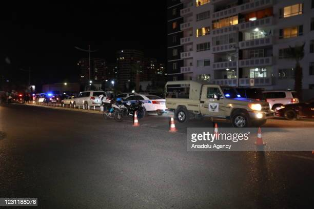Security measures are taken around the site at Gulan Street after 2 rockets land inside Iraq's Erbil airport on February 15, 2021 in Erbil, Iraq....