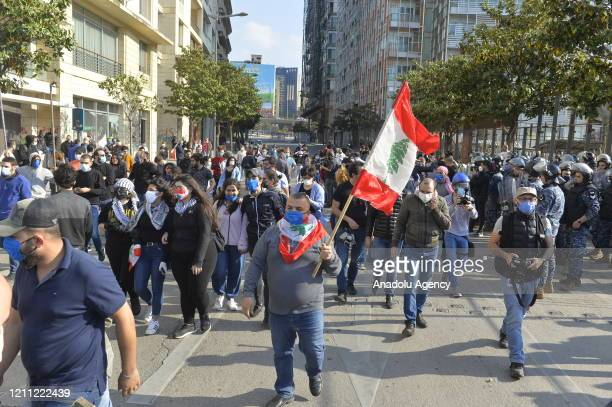 Security measures are taken around the site during a demonstration held to protest against country's economic conditions, on April 28, 2020 in...