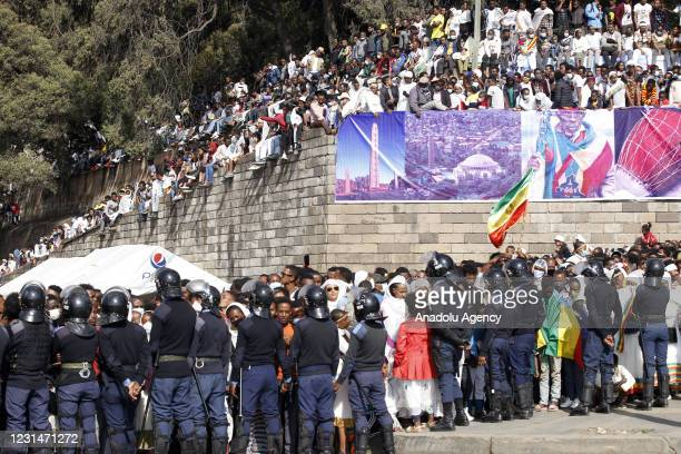 Security measures are taken as Ethiopians celebrate the 125th anniversary of Ethiopia's victory over Italy at the Battle of Adwa on March 1 at...