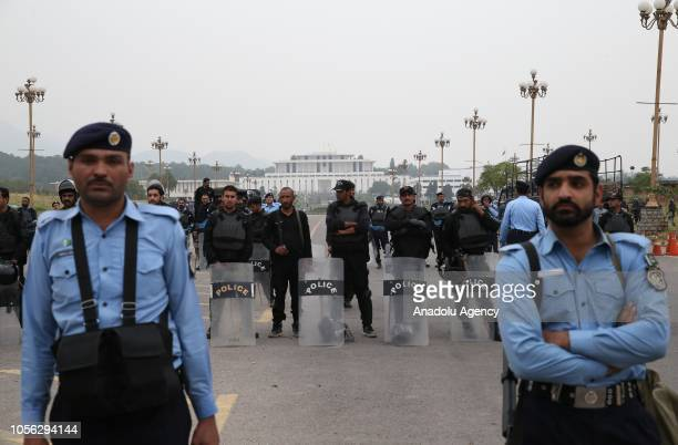 Security measures are taken as people continue to protest against Pakistani Supreme Court's decision to acquit Christian woman Aasia Bibi of...