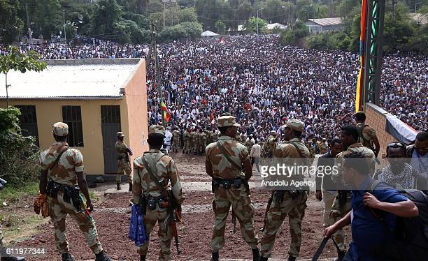 Security measures are taken as the Oromo people stage a protest against government during the Oromo new year holiday Irreechaa' near the Hora Lake at...