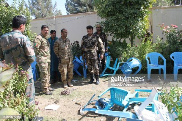 Security measures are taken at the scene after a blast caused by explosives on October 17 2018 in Helmand Afghanistan Abdul Jabbar Qaharmaan a...
