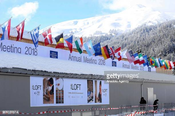 Security measures are taken near the congress hall where the Annual Meeting of the 48th World Economic Forum held in on January 23 2018 in Davos...