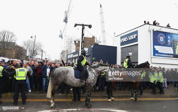 Security measures outside the stadium prior to The Emirates FA Cup QuarterFinal match between Tottenham Hotspur and Millwall at White Hart Lane on...