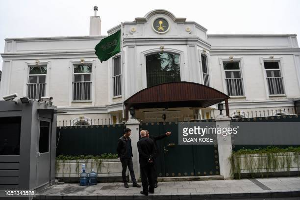Security members of the consulate stand in front of Saudi Consul's residence on October 17 2018 in Istanbul Saudi Arabia's consul in Istanbul...