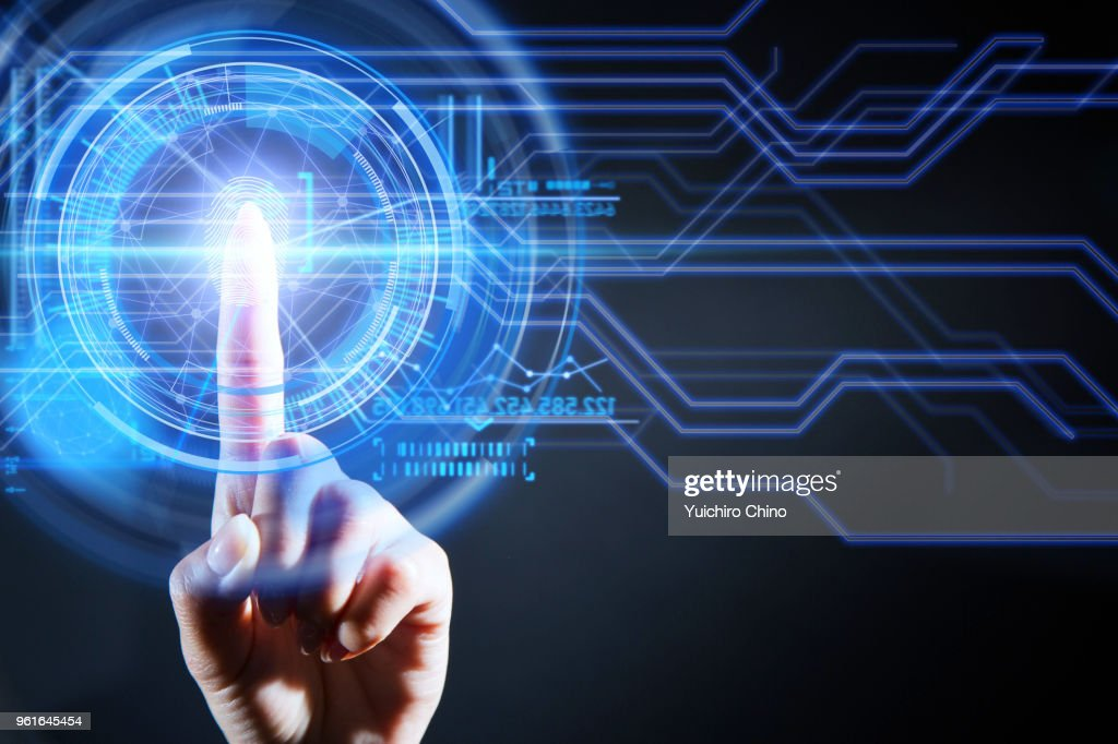 Security of digital screen with fingerprint : Stock Photo