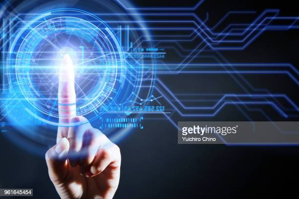 security of digital screen with fingerprint - hud graphical user interface stock photos and pictures