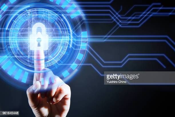 security of digital screen with padlock - hud graphical user interface stock photos and pictures